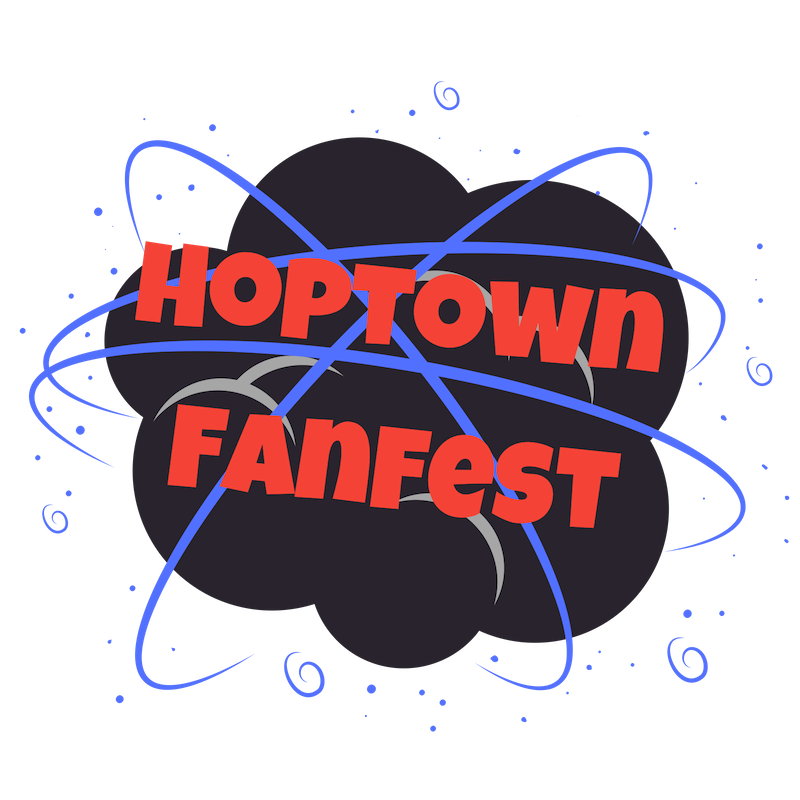 Event logo. A black cloud surrounded by blue spirals with red letters over the top stating Hoptown FanFest.